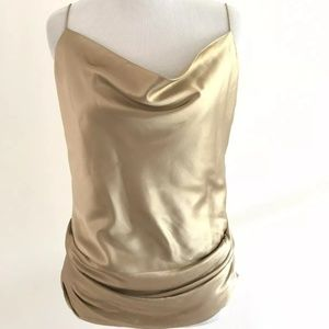 Theory Stretch Silk Gold Cowl Camisole